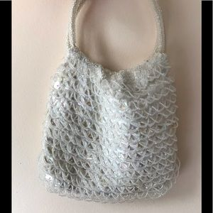 Vintage 60s White Iridescent Beaded Handbag